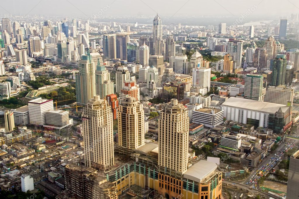 Bangkok Metropolis, aerial view over the biggest city in Thailand  Stock Photo #5419444