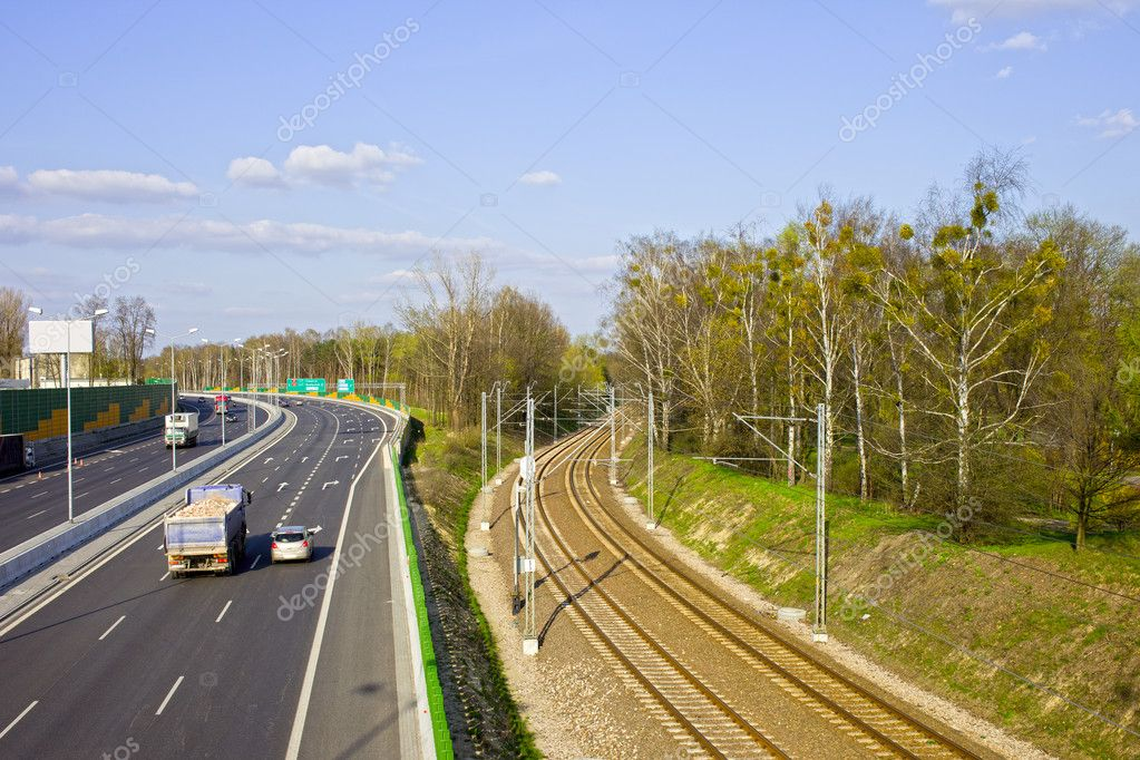 Motorway and railroad urban infrastructure scenery in Warsaw, Poland — Stock Photo #5766774