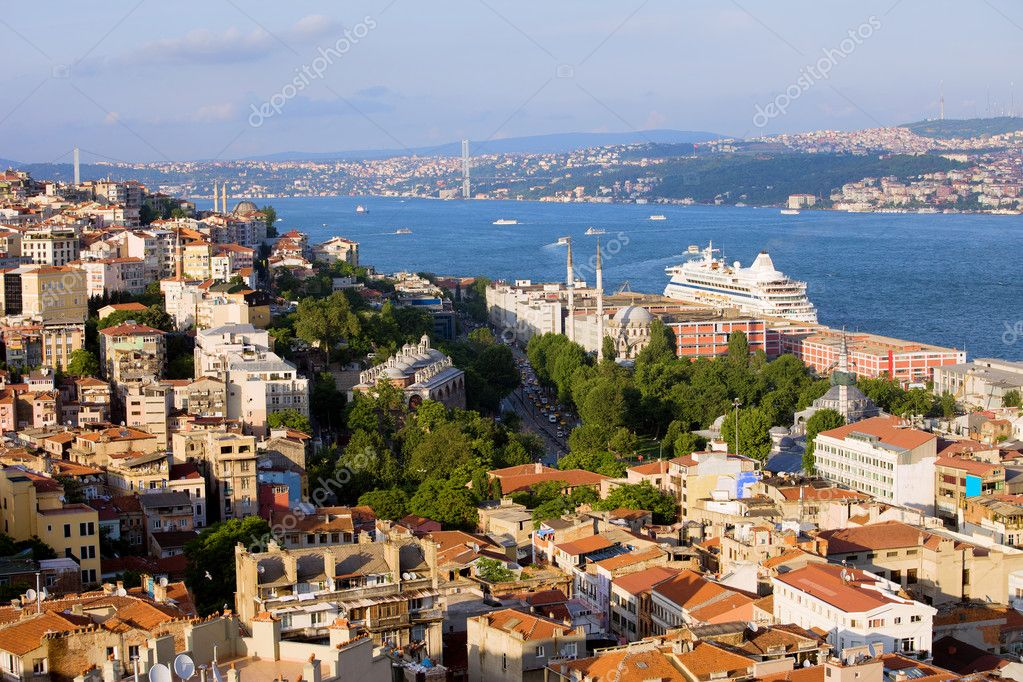Istanbul cityscape in Turkey, on the first plan Beyoglu district (European Side), Bosporus Strait and Asian Side on the other shore  Stock Photo #6542660
