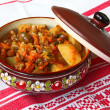 Pot with stewed green-stuffs — Stock Photo #5409321