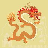 Orange dragon — Stock Vector