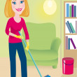 Stock Vector: Cleaning up is in house