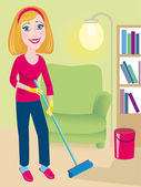 Cleaning up is in a house — Stock Vector