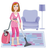 Cleaning up of room — Stock Vector