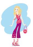 Beautiful fashionable girl — Wektor stockowy