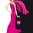 Glamour lady in pink dress — Stock Vector