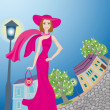 Stock Vector: Glamour lady in pink dress walks around an age-old town