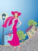 Glamour lady in pink dress walks around an age-old town — Stock Vector