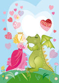 Every dragon has the princess — Stock Vector