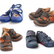 Set from 4 pair of shoe for year-old kid — Stock Photo #5917751