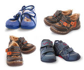 Set from 4 pair of shoe for a year-old kid — Stock Photo