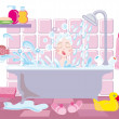 Kid in bath - Stock Vector