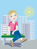 Boring summer in the city for the child — Stock Vector