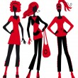 Three fashionable girls — Stock Vector