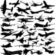 Airplanes,military airplanes,helicopter — Stock Vector