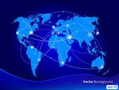 Kaart van de wereld van vector illustratie. begrip mededeling. — Stockvector