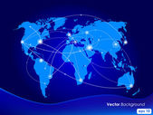 Vector illustration world map. Concept communication. — Vector de stock