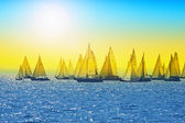 Sailing in Hungary at Lake Balaton. Blue Ribbon cup and other sa — Stock Photo