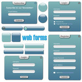 Shades of blue web forms — Stock Vector