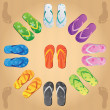 Stock Vector: Colorful flip flops