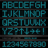 Blue digital letters and numbers — Stock Vector