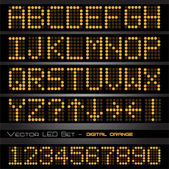 Orange LED numbers and letters — Vecteur