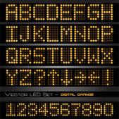 奥兰治带领的数字和字母 — 图库矢量图片