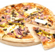 Pizza on wooden plate — Stock Photo