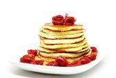 American pancake with cherries — Stock Photo