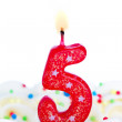Number five candle — Stock Photo