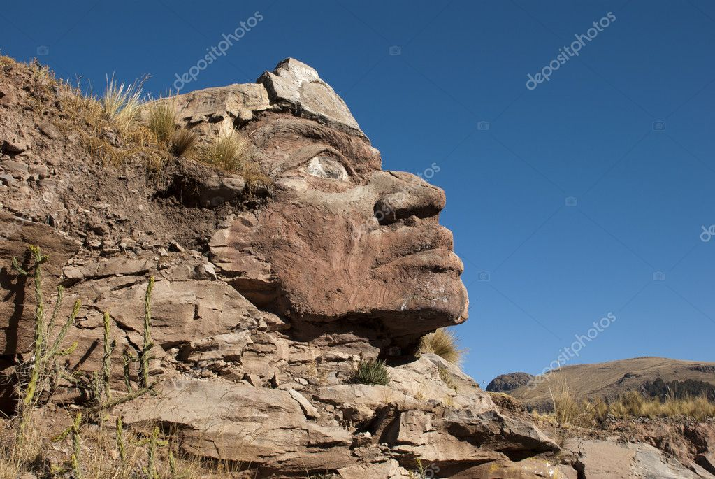 Huge Inca Face on the mountain, Peru — Stock Photo #6473285
