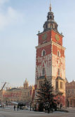 Town hall with clock in winter in Krakow, Poland — Stock Photo