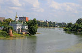 Ukrainian church near river in summer — Stok fotoğraf