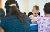 A little boy at the preschool class — Stock Photo