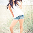 Jeans shorts on the beach - 