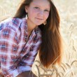 Stock Photo: Girl farmer in field