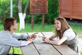 Discussion outdoors — Stock Photo