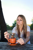 Coffee outdoors — Stock Photo