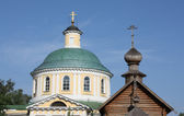 Domes of Orthodox temple complex in Kosino, Moscow — Stock Photo