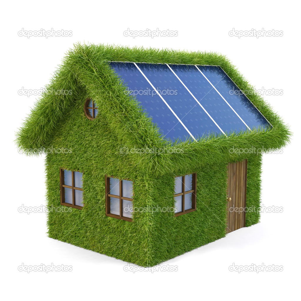 House from the grass with solar panels on the roof. isolated on white. — Stock Photo #6186010