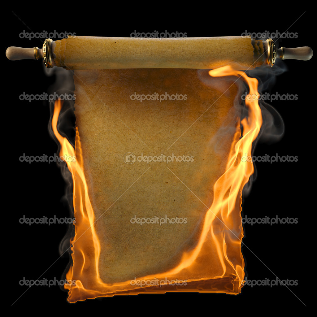 Ancient antique scroll in the fire. isolated on black. — Stock Photo #6387627