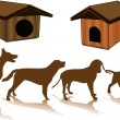 Silhouette of a dog, and kennels - Stock Vector