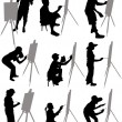 Artist paints at easel - Stock Vector
