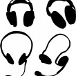 Headphones icon set - Stock Vector