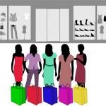 Fashion shopping girl - color — Stock Vector
