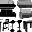 Furniture-home furnishings, working with vectors - Stock Vector