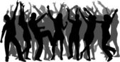 Disco-dancing to a large group of — Stock Vector