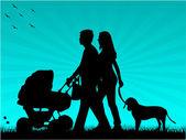 Familie auf einem Spaziergang mit Ihrem Kind in einen Rollstuhl und einen Hund — Stockvektor