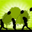 Children running with balloons - vector - Stock Vector