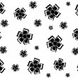 Black flowers on a white background, vector work - Stock Vector